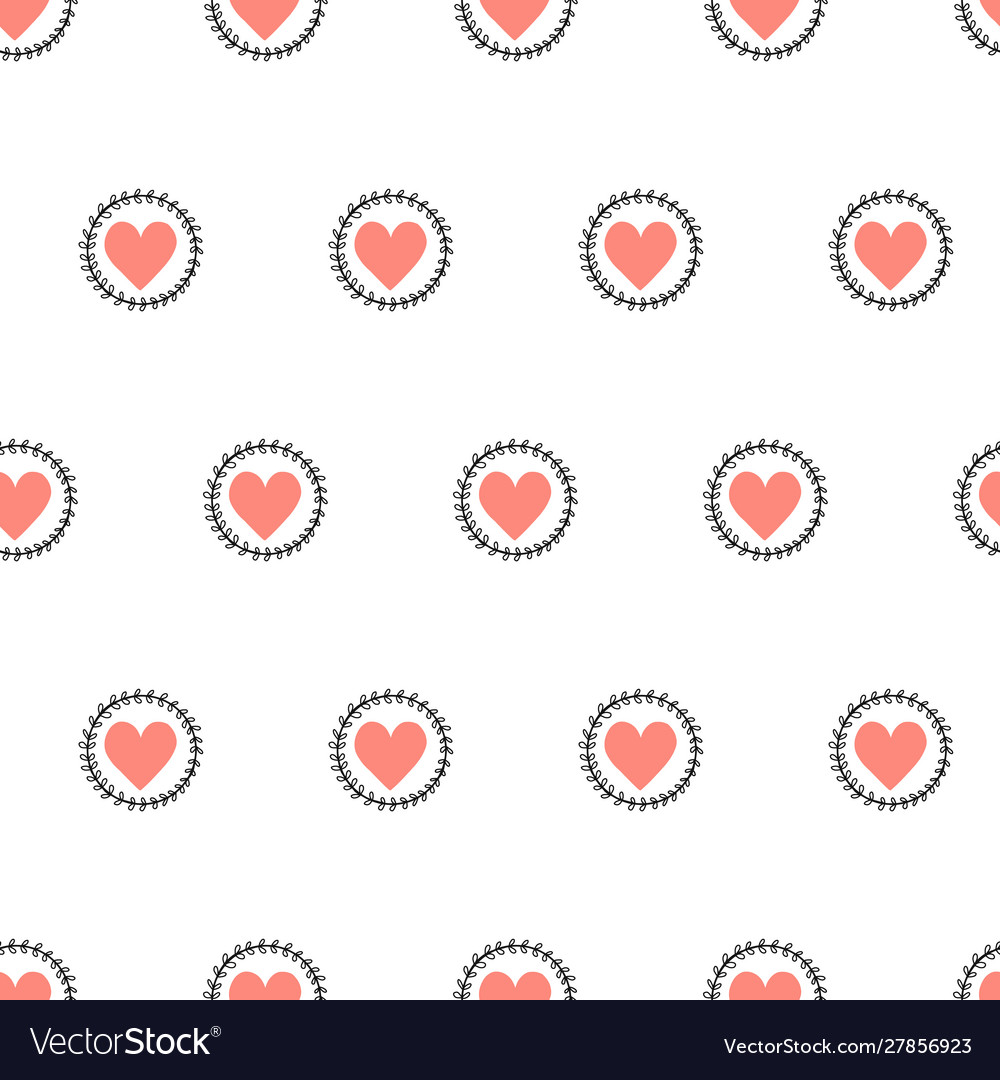 Doodle hearts seamless pattern hand drawn