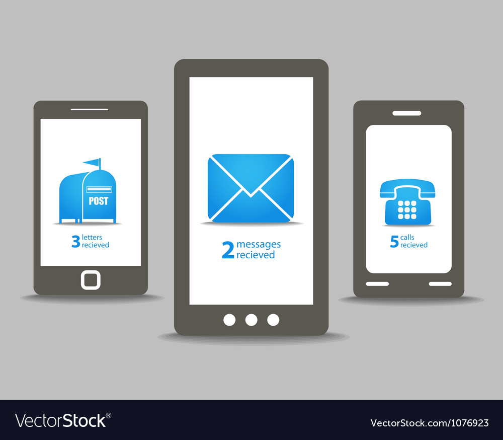 Group of modern mobile phones with speech clouds vector image