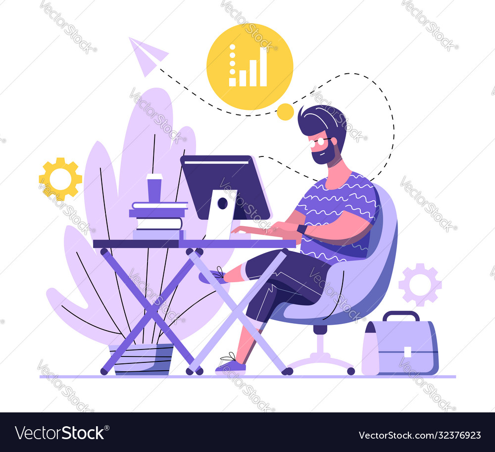 Handsome man is working on computer a man is