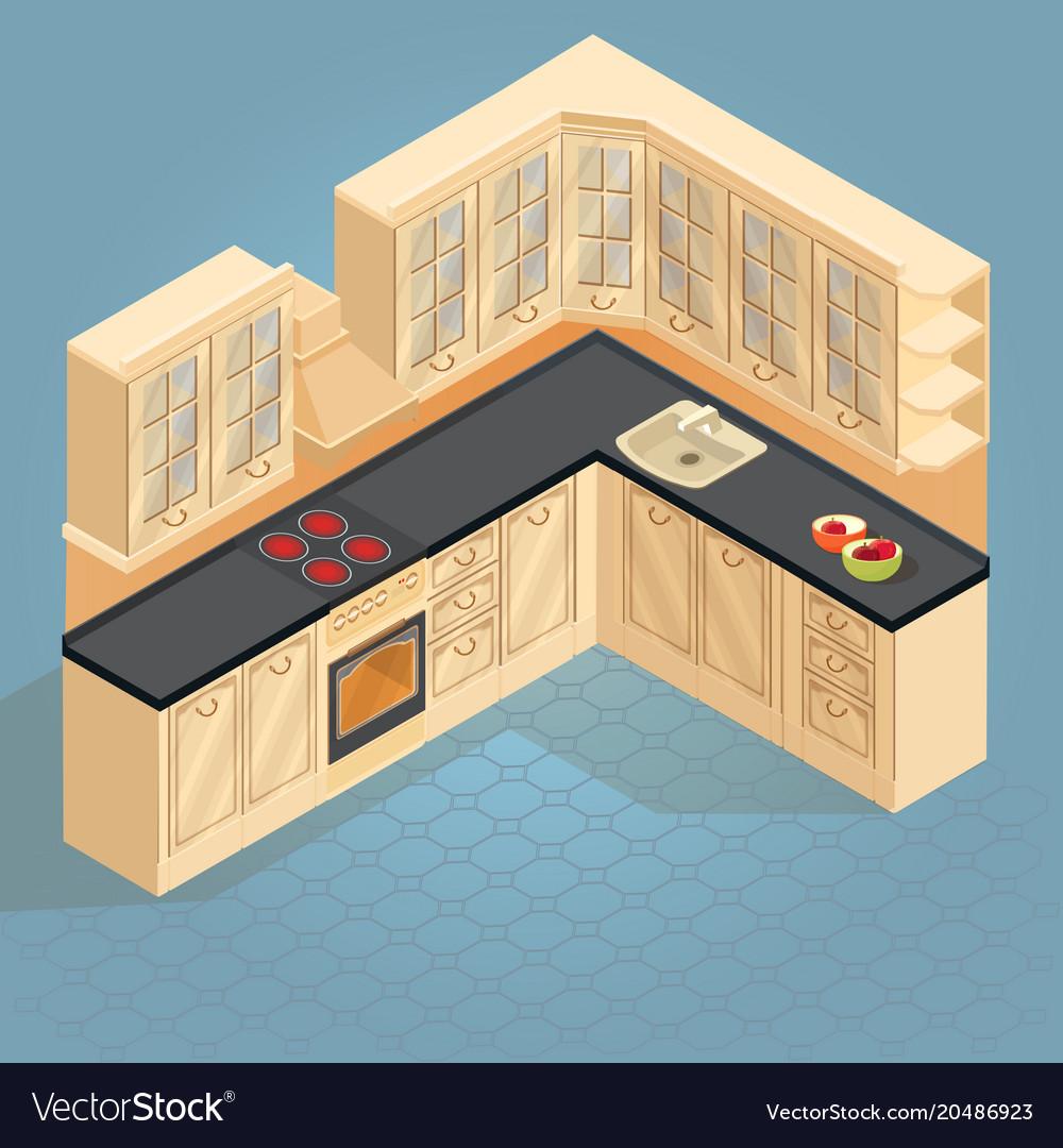 Isometric cartoon retro kitchen furniture icon Vector Image