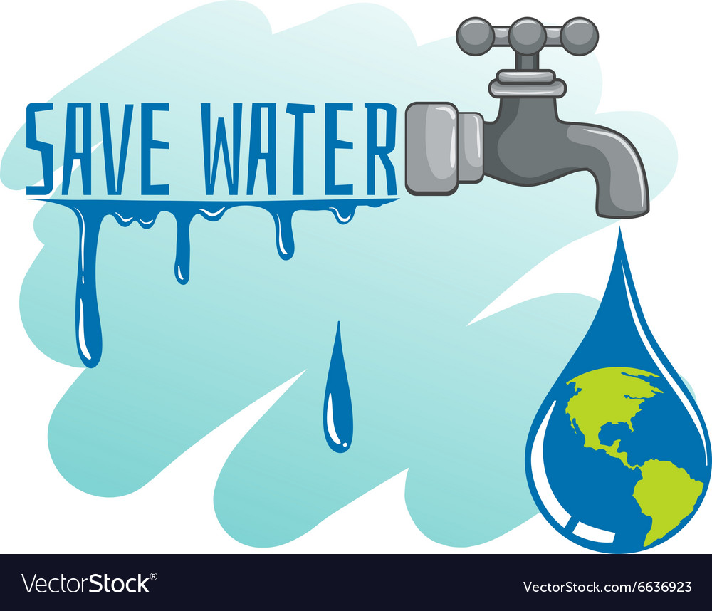 Save water theme with earth and faucet Royalty Free Vector