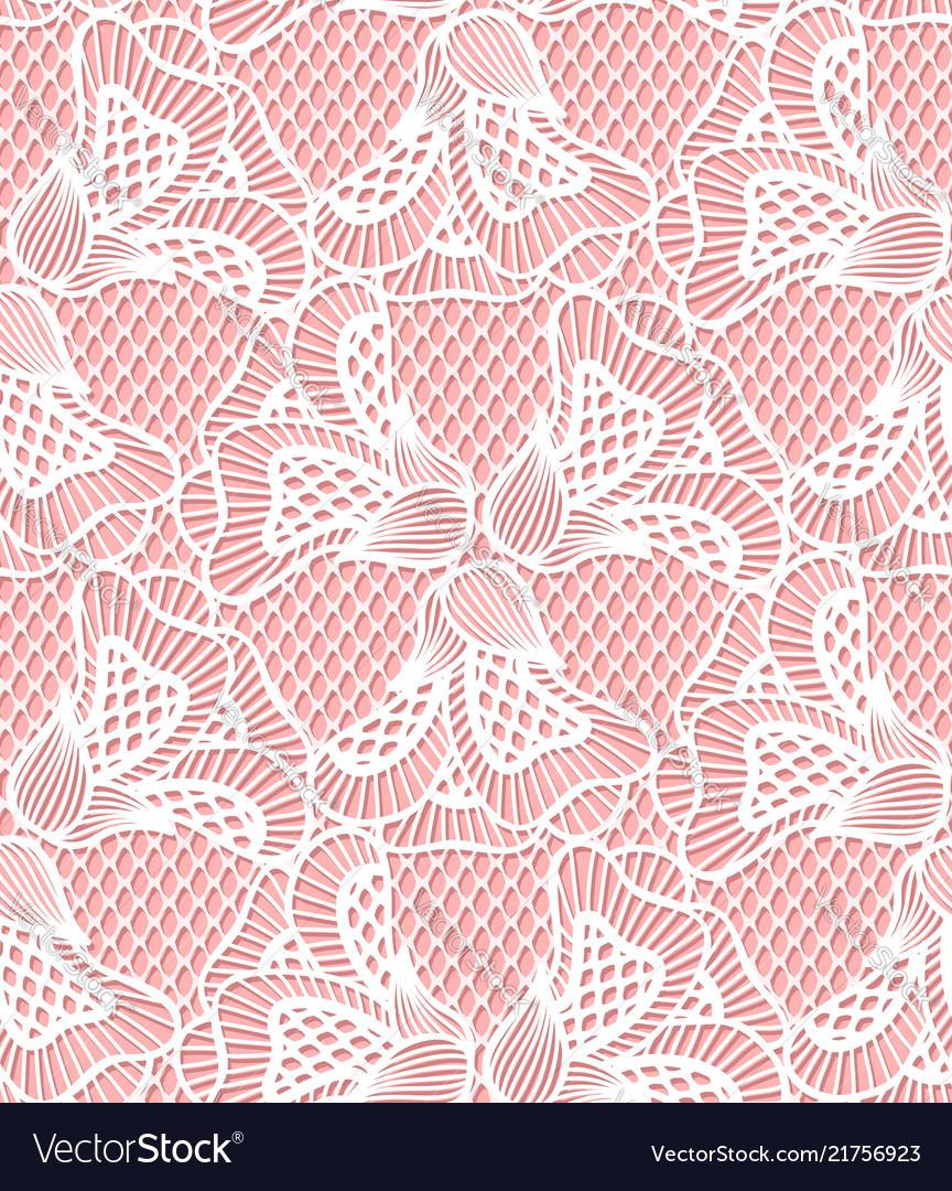 Seamless white flower lace pattern retro lace