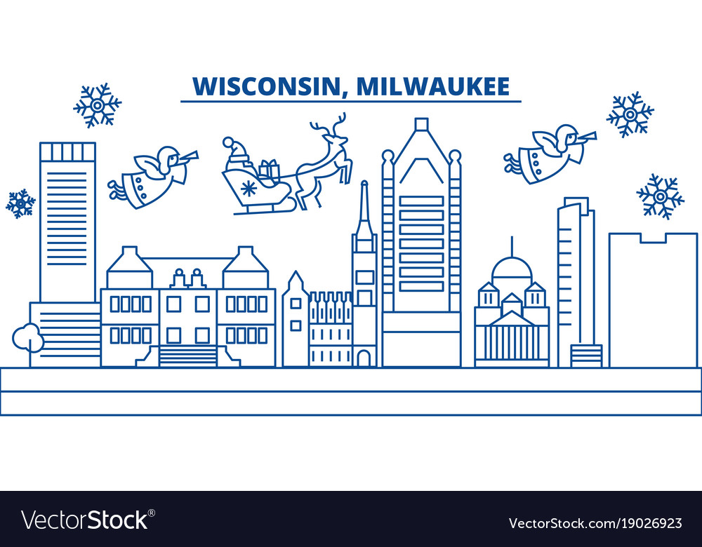 Usa wisconsin milwaukee city winter city vector image
