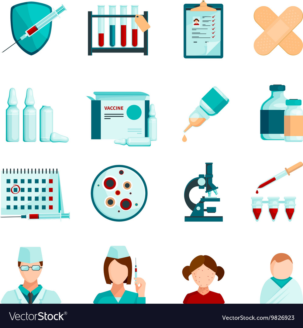 Vaccination Flat Icons Set vector image