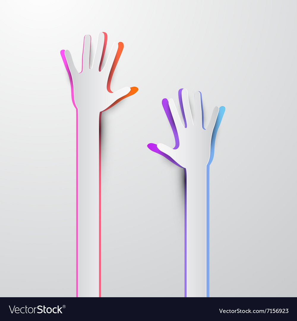 Voting Hand - Paper Cut Palm Hands vector image