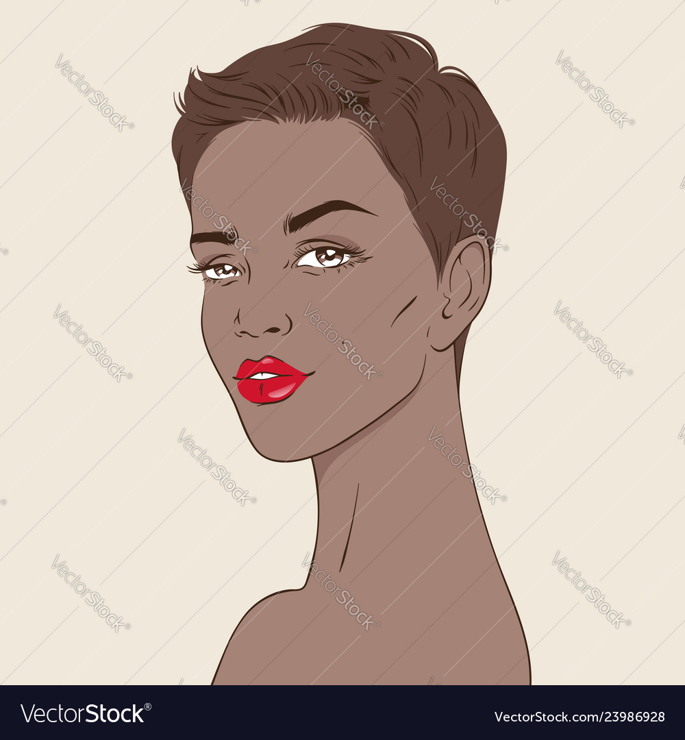 African american woman with pixie haircut