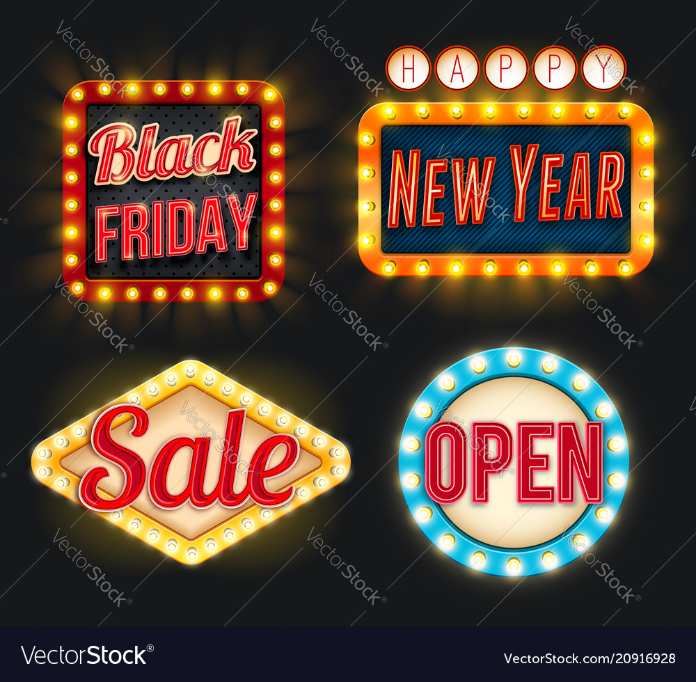 Black friday sale new year open retro icons
