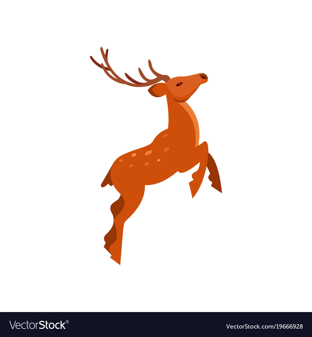 Brown spotted deer with antlers jumping wild