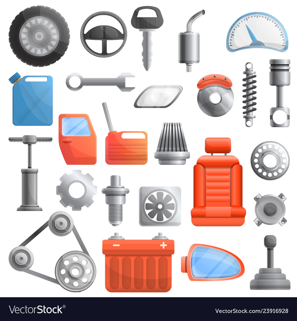Car Parts Icons Set Cartoon Style Royalty Free Vector Image