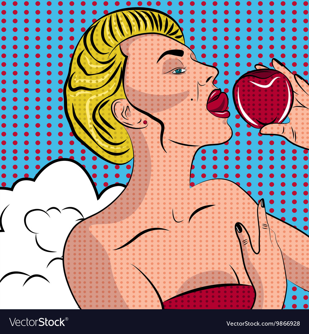 Sexy pop art woman with an apple