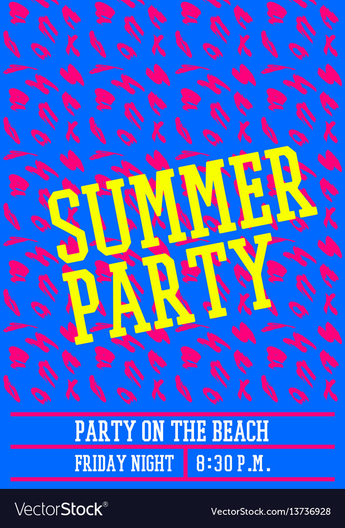 Summer party poster design layout neon color