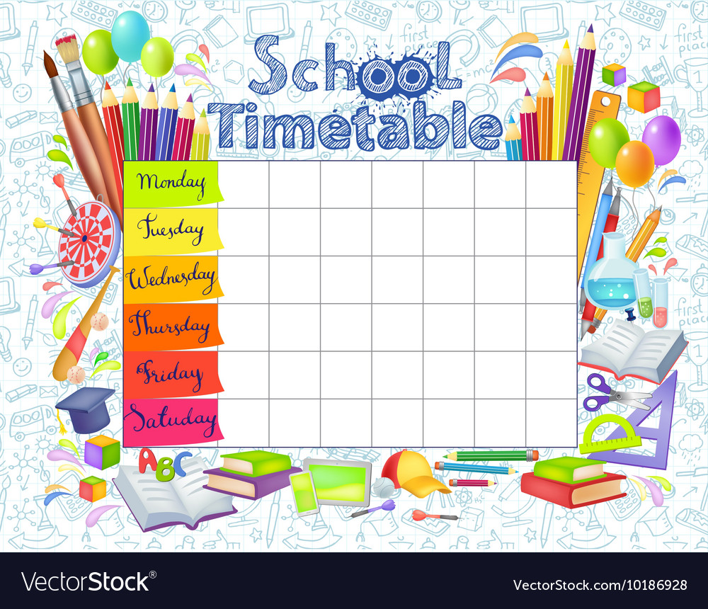 Quotes On School Time Table: Template School Timetable Royalty Free Vector Image