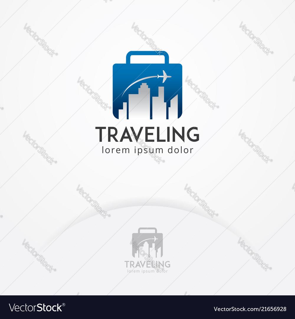 Traveling logo with flight plane