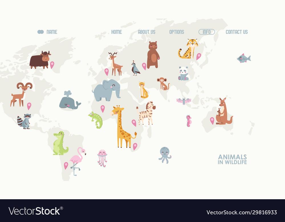 Animals in wildlife on world map