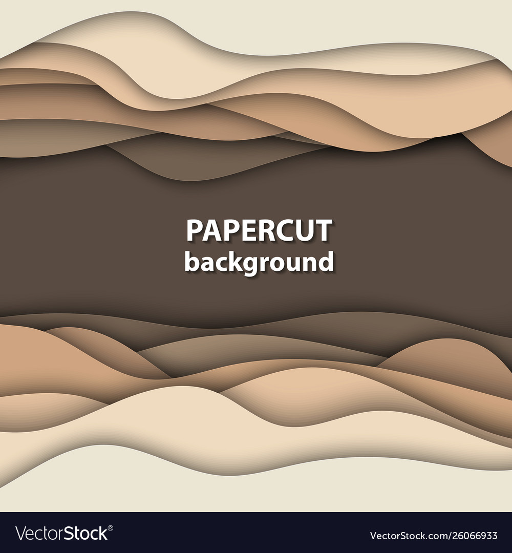 Background with brown and beige color paper cut
