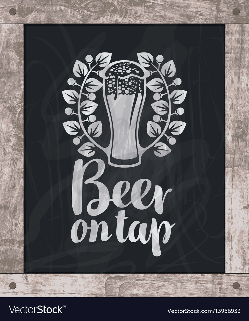 Beer glass drawing chalk on board in wooden frame