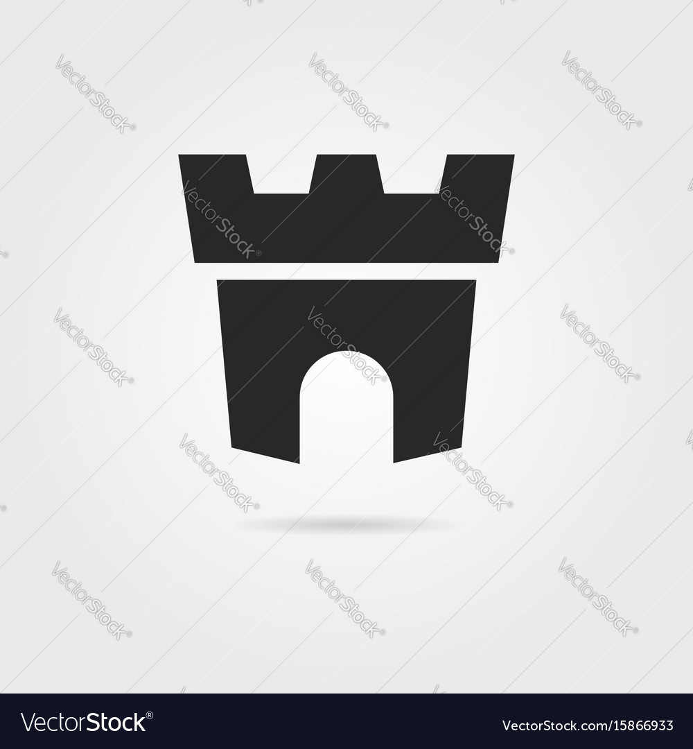 Black fortress icon with shadow vector image