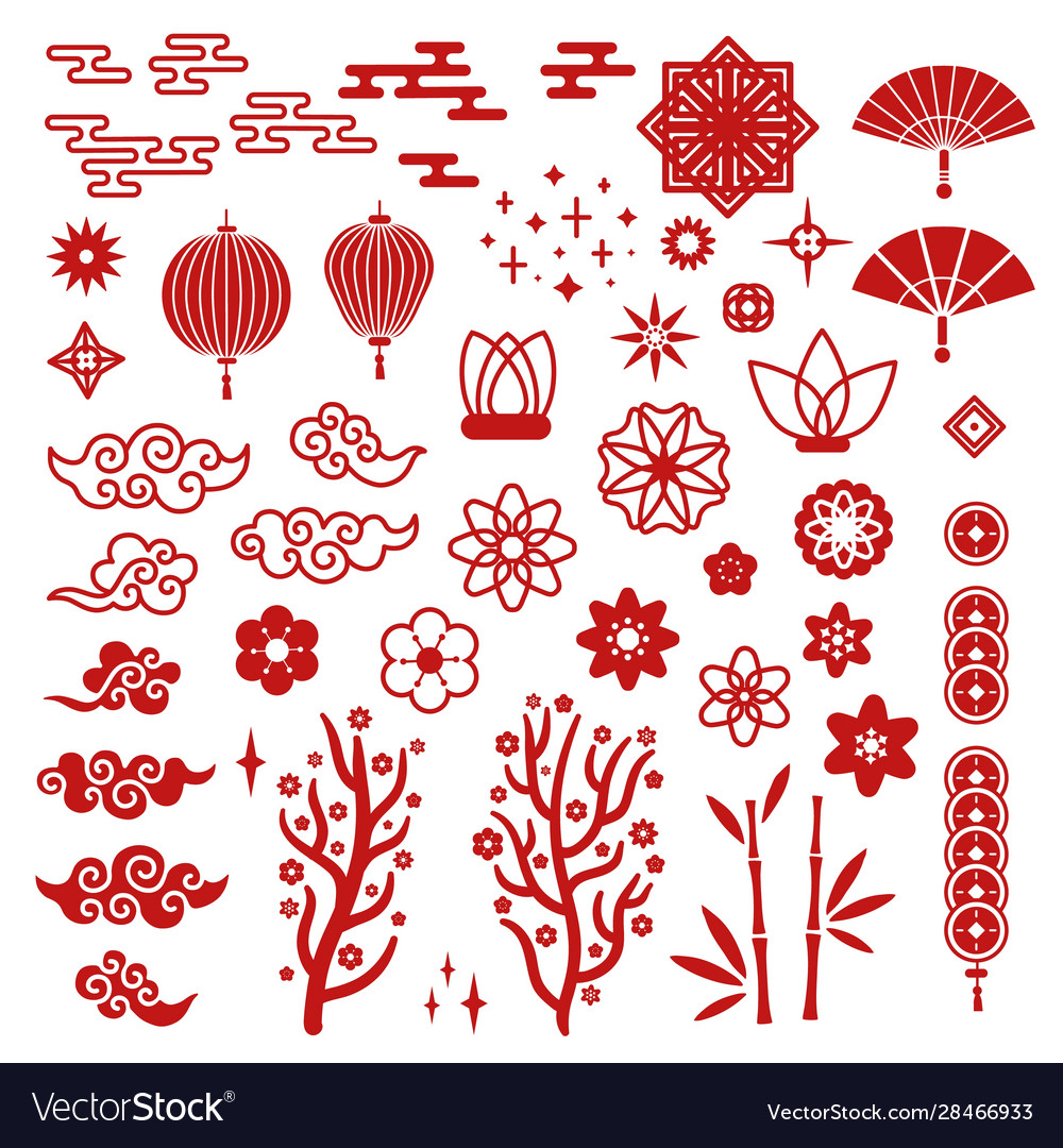 Chinese new year elements red asian traditional