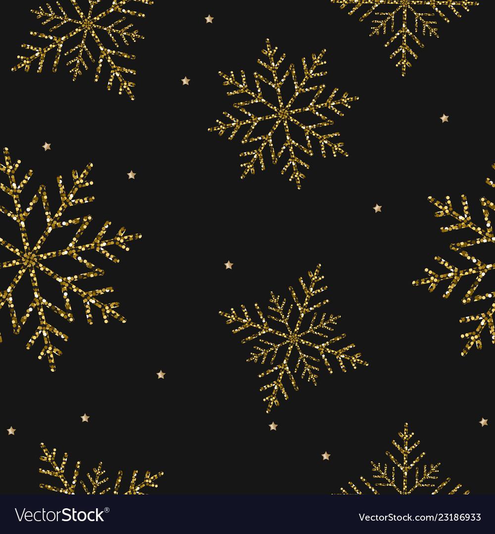 Christmas gold snowflakes seamless background