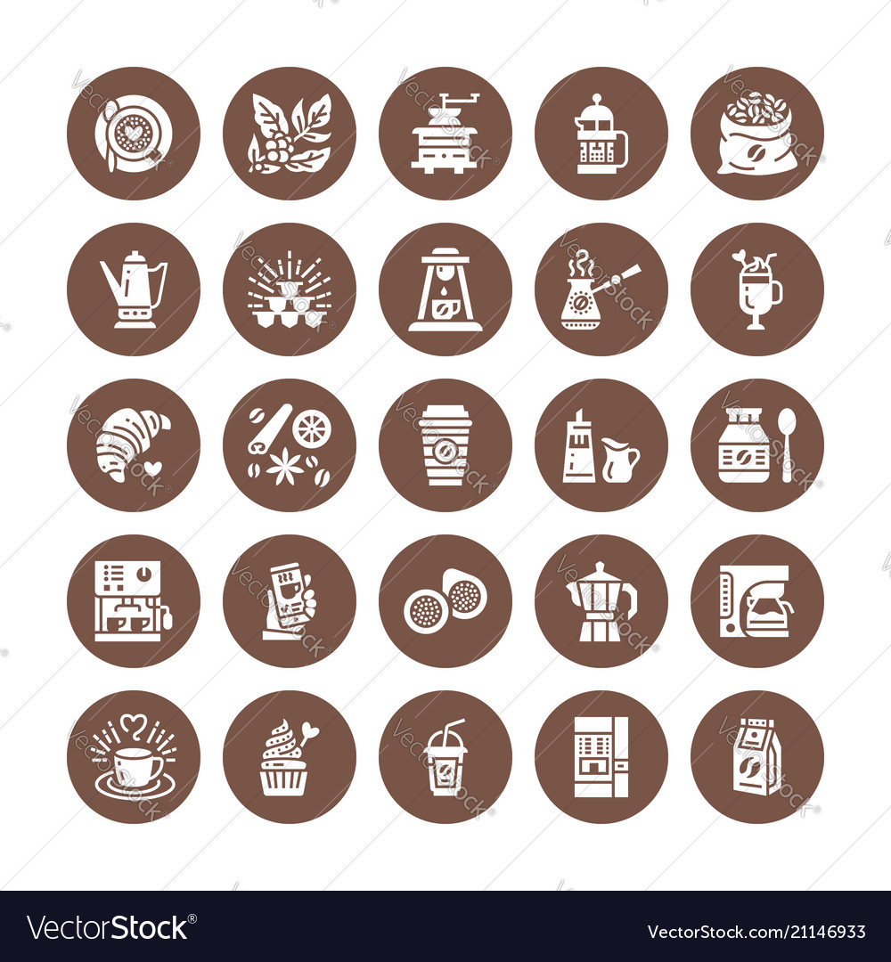 Coffee making equipment flat glyph icons elements