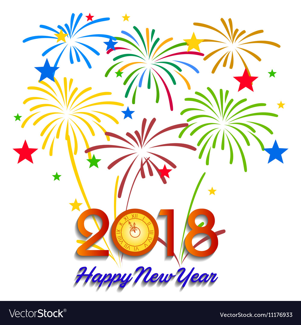 colorful fireworks happy new year 2018 t vector image