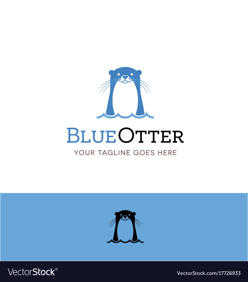 Cute blue otter logo