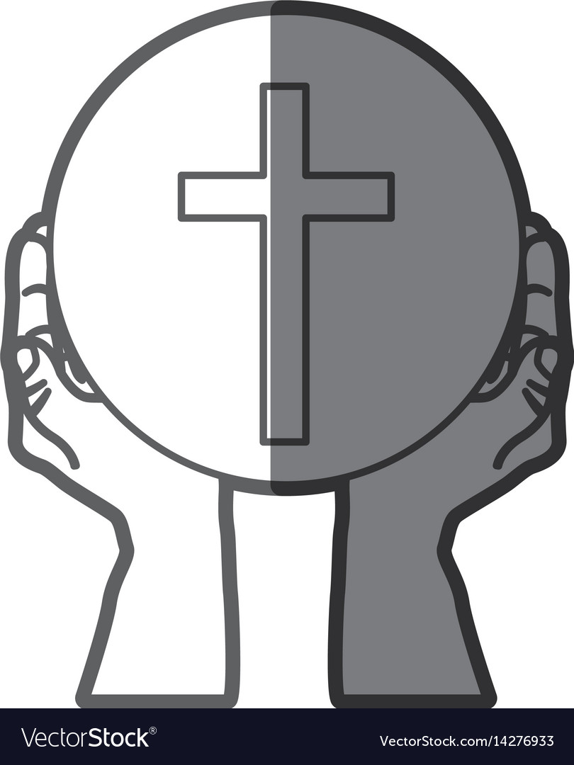 Grayscale silhouette of hands holding sphere with vector image