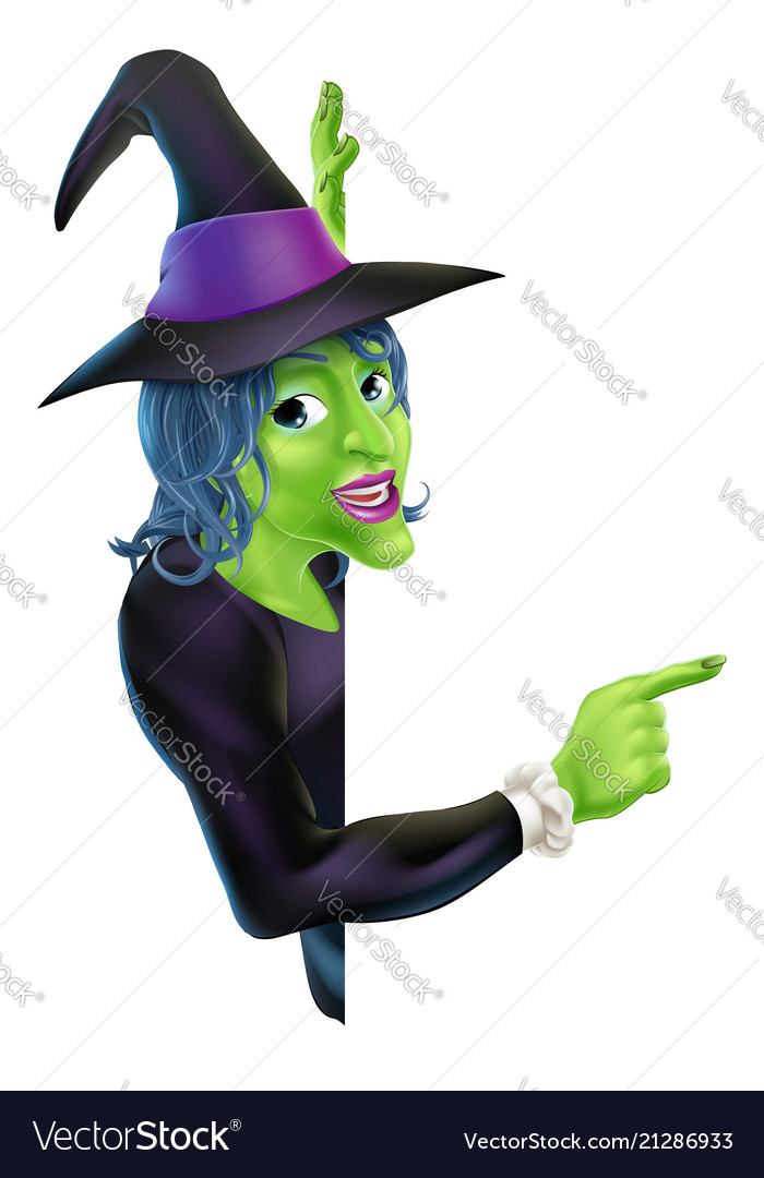 Halloween witch pointing