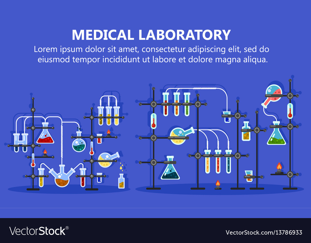 Medical laboratory equipment with glass flask