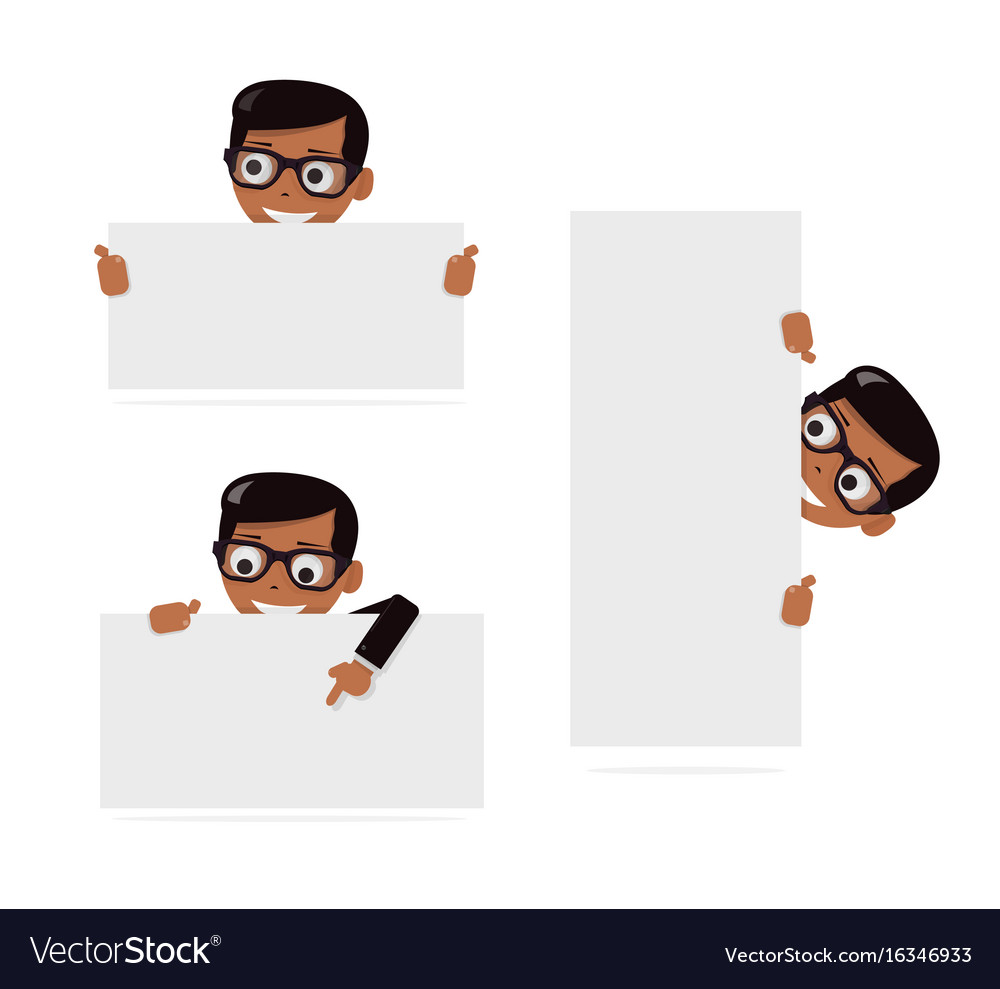 Set cartoon boy and blank paper for web site user