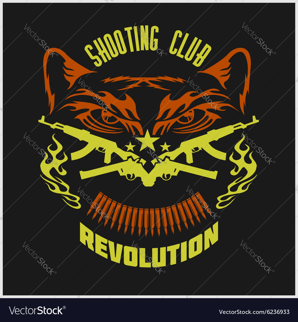 Shooting Club - emblem with crossed guns and tiger