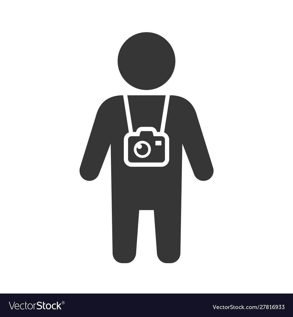 Travel tourist with photo camera icon
