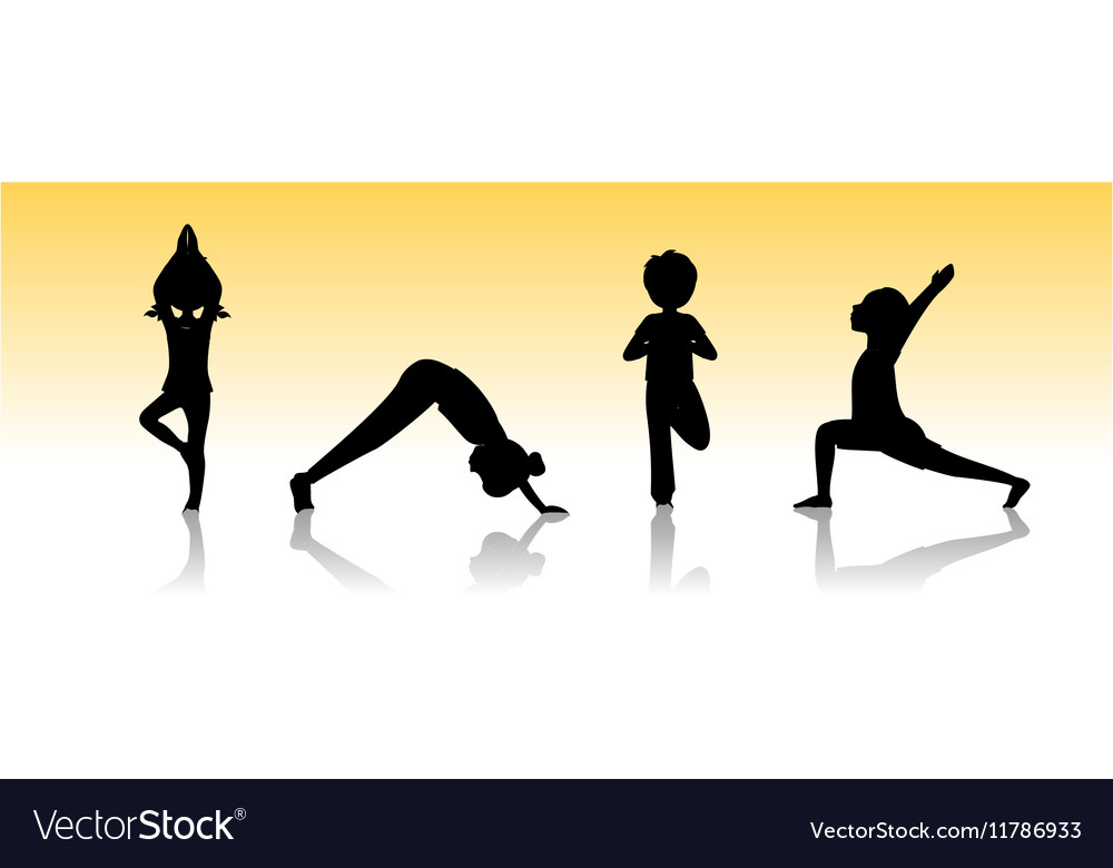 Yoga kids Asanas poses silhouette