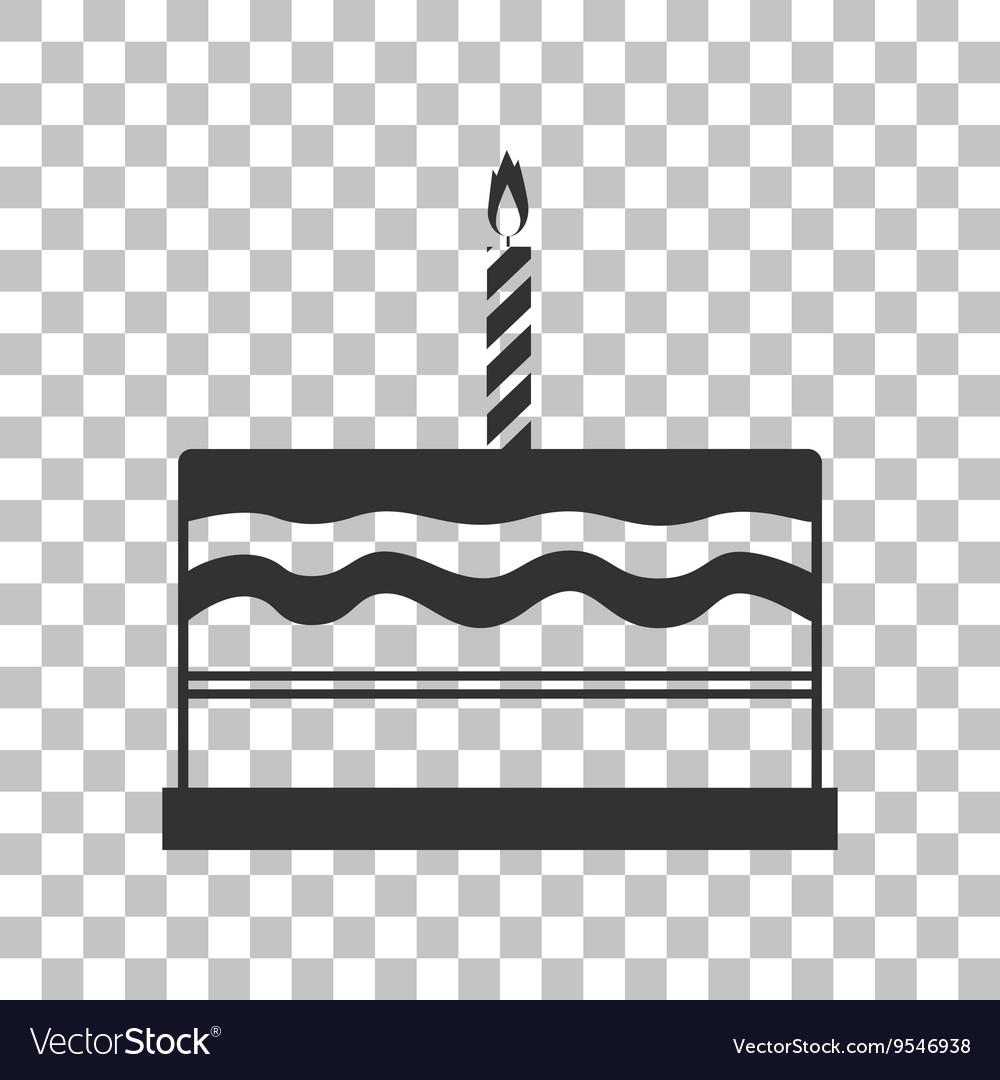 Birthday Cake Sign Dark Gray Icon On Transparent Vector Image