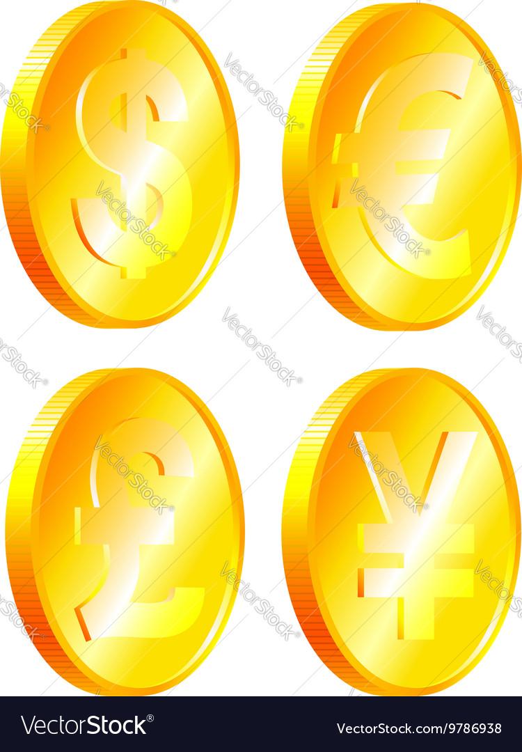 Coins of dollar euro yen pound