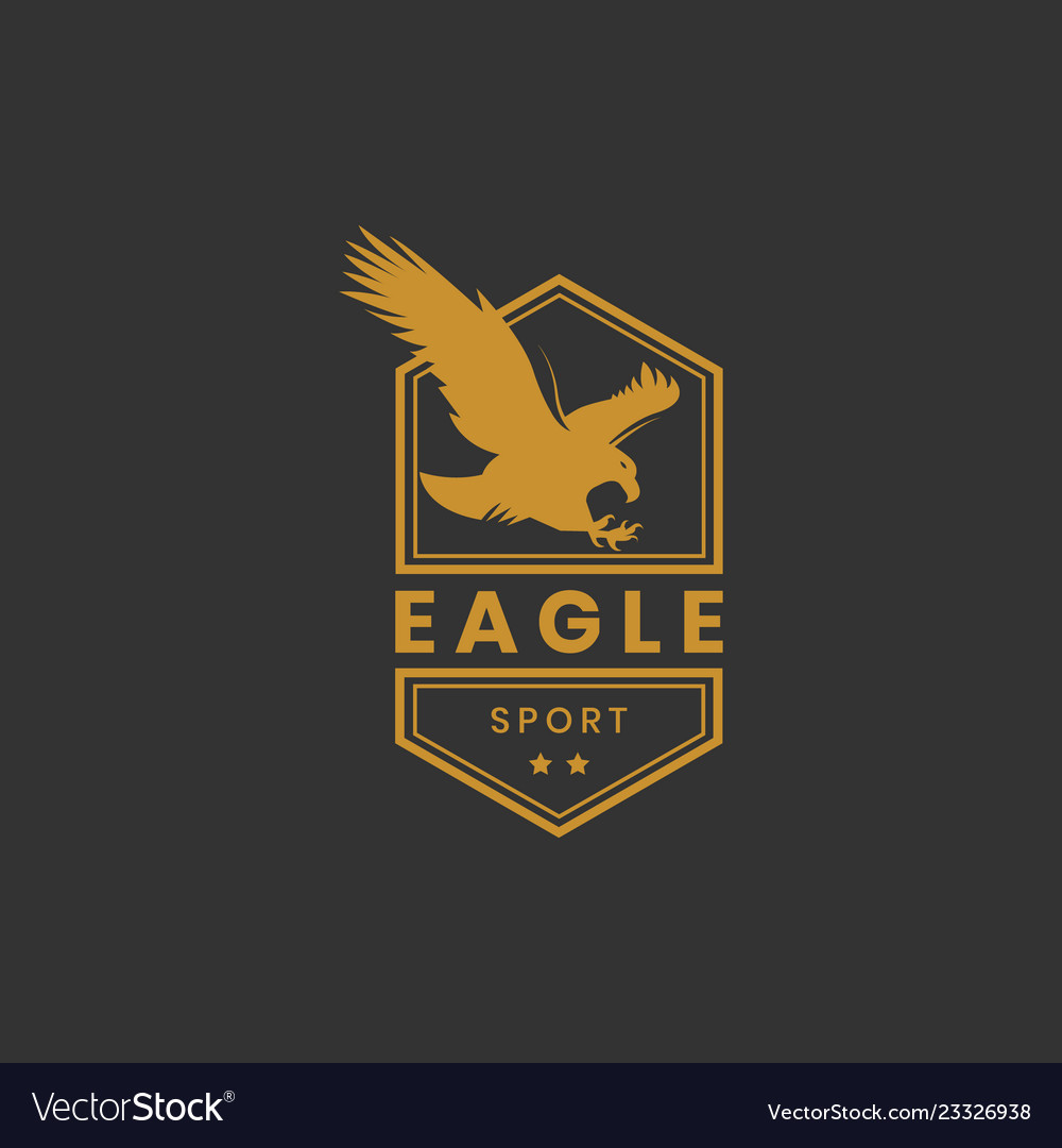 Eagle Sport Logo Design In Gold Color