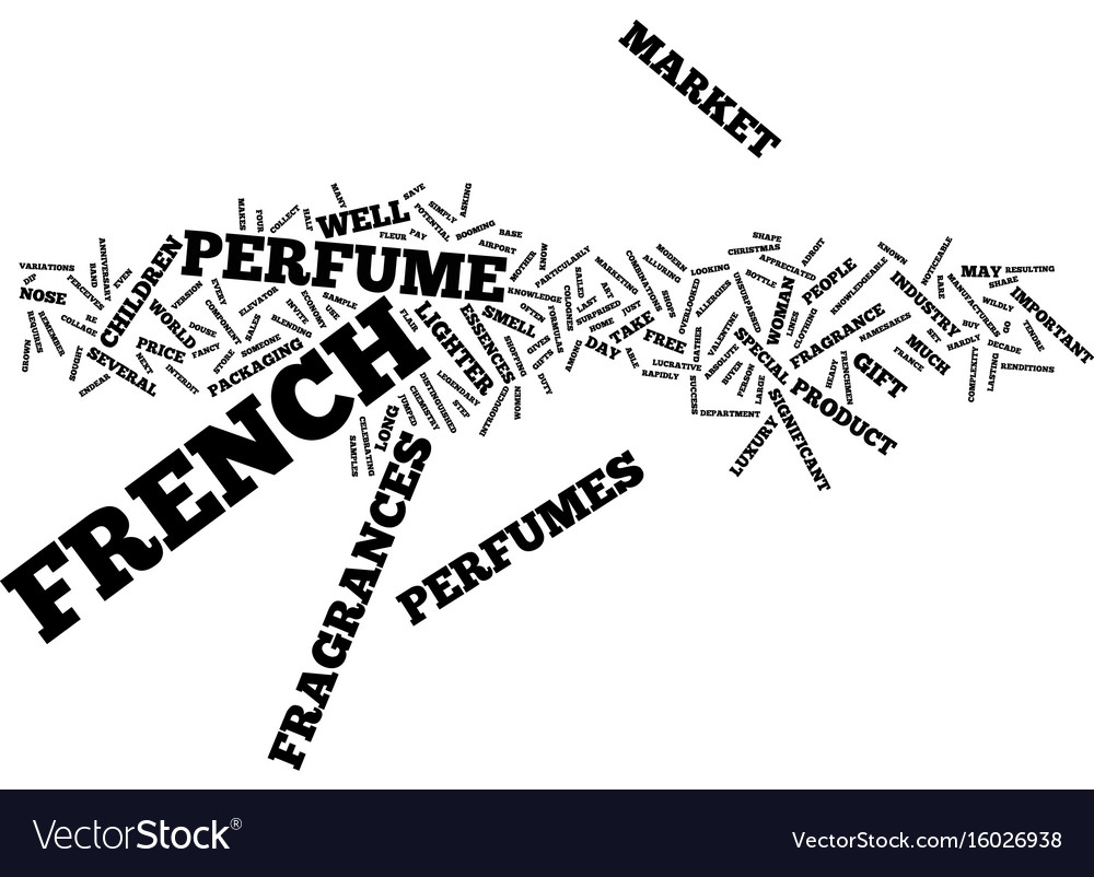 French perfumes text background word cloud concept