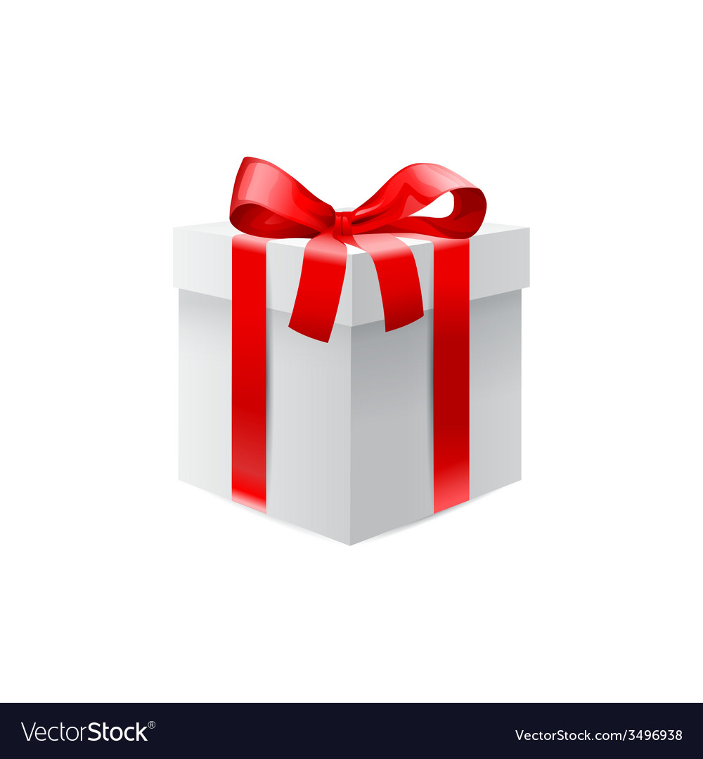 Gift box with red ribbon bow vector image