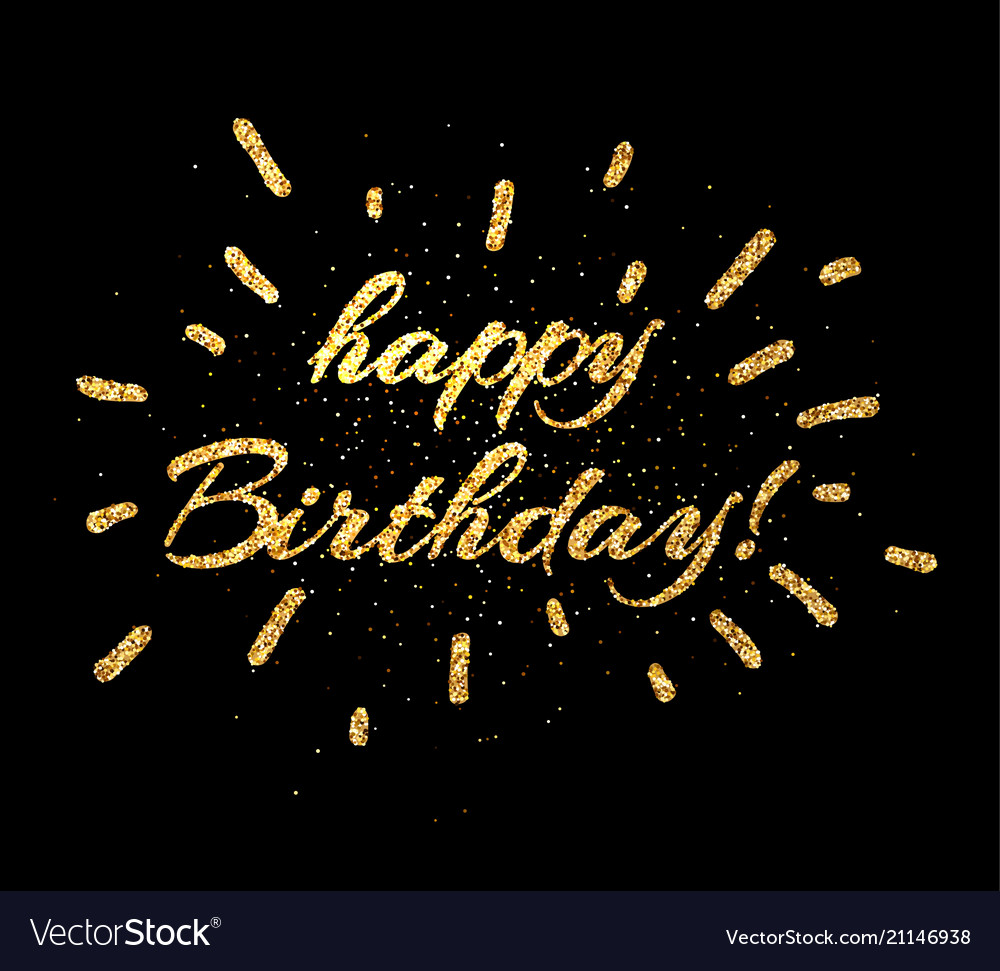 Gold Happy Birthday Card On Black Vector Image