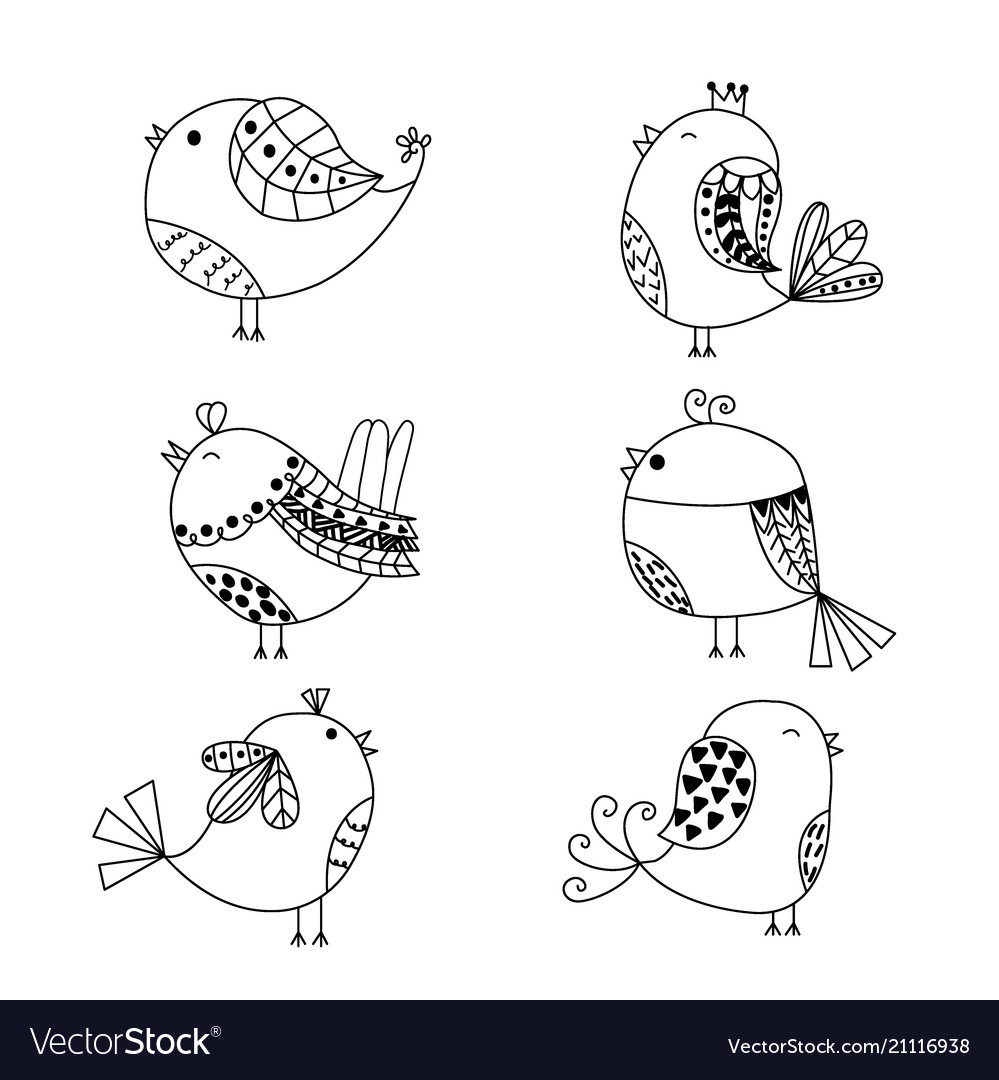 Hand drawn set of birds isolated on white
