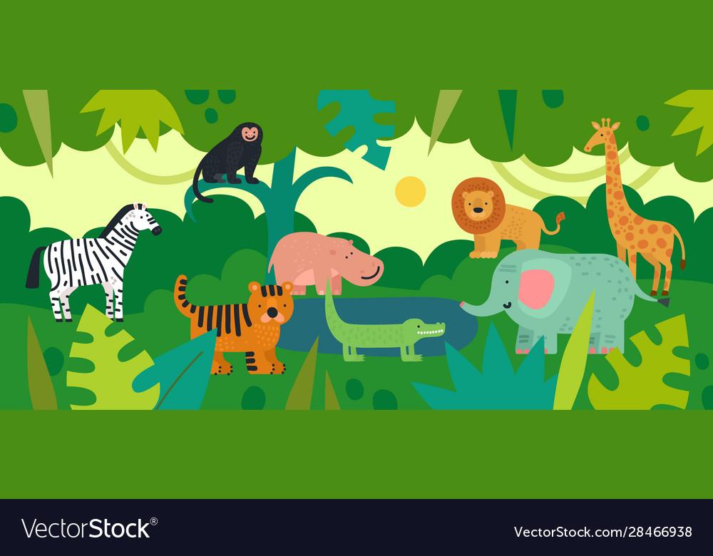 Jungle with animals zebra monkey and hippo