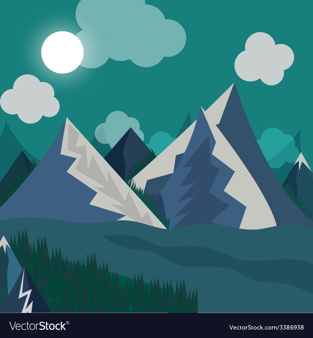 Natural landscape in the style of flat in night vector image