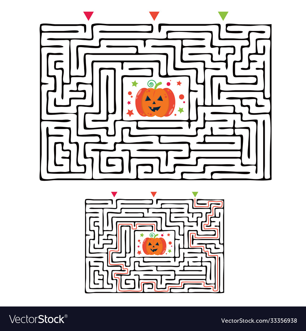 Rectangular halloween maze labyrinth game for kids