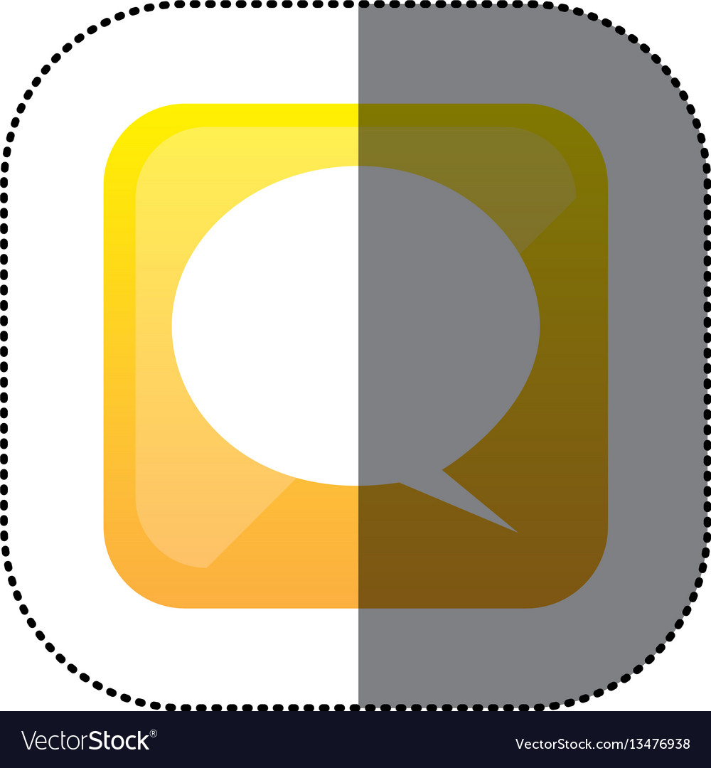 Sticker color square with speech bubble vector image