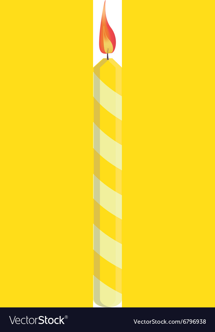 Yellow birthday candle vector image