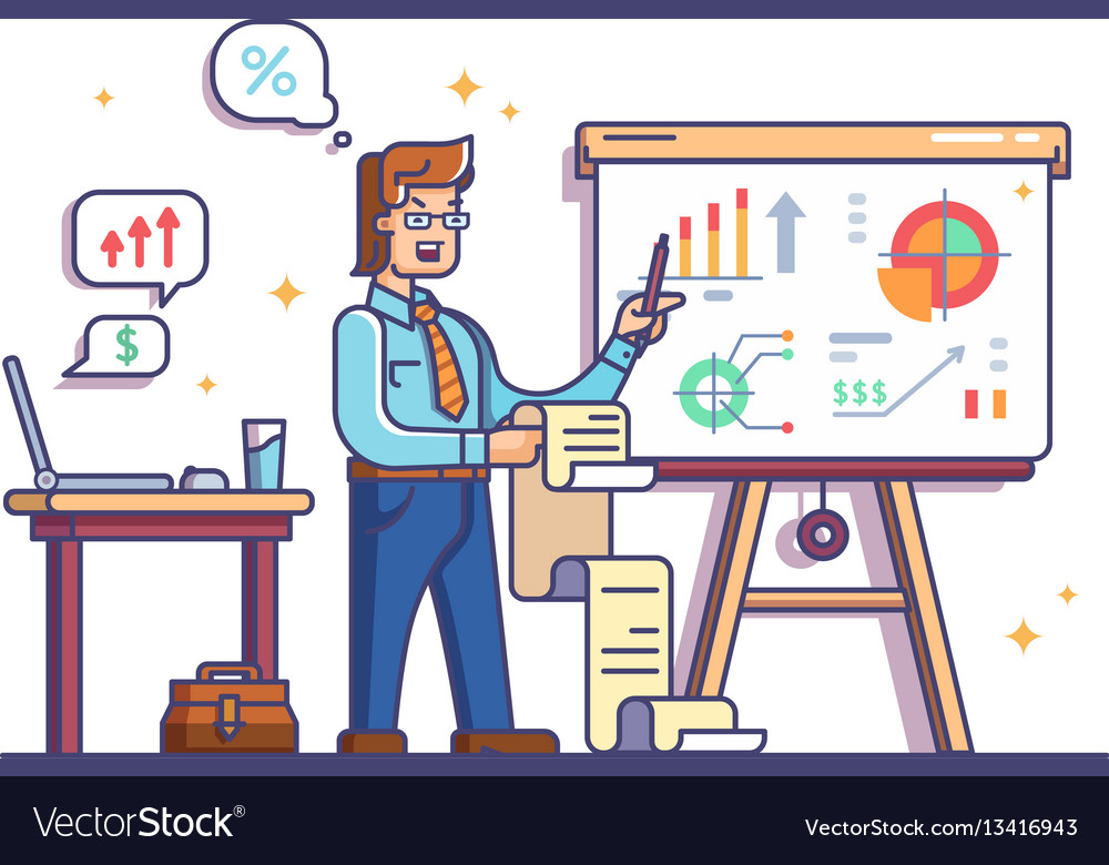 Business analyst shows charts and graphs
