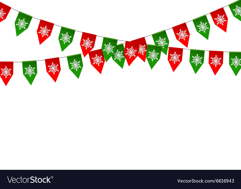 Christmas bunting flag isolated on white