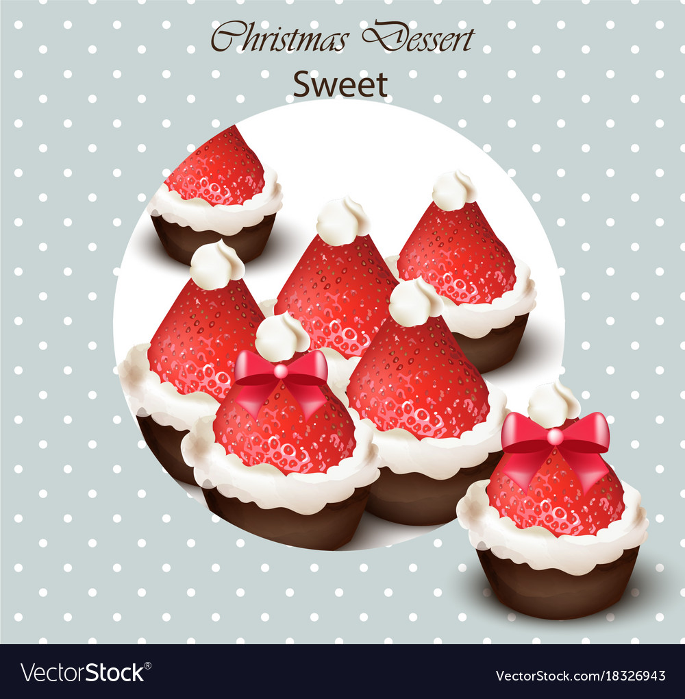 Christmas cupcakes with strawberries