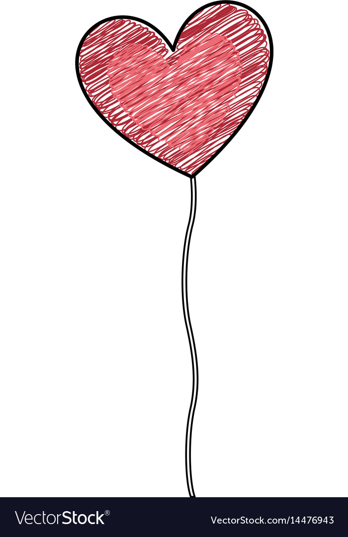 Color Pencil Drawing Of Balloon In Shape Of Heart Vector Image On Vectorstock