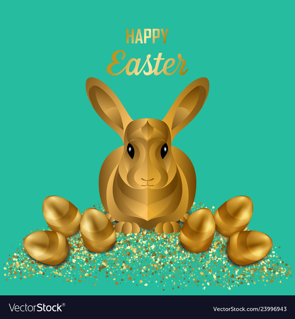 Happy easter greeting card with gold eggs and